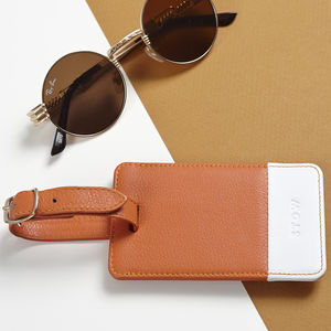 Soft Luxury Leather Personalised Luggage Tag - luggage