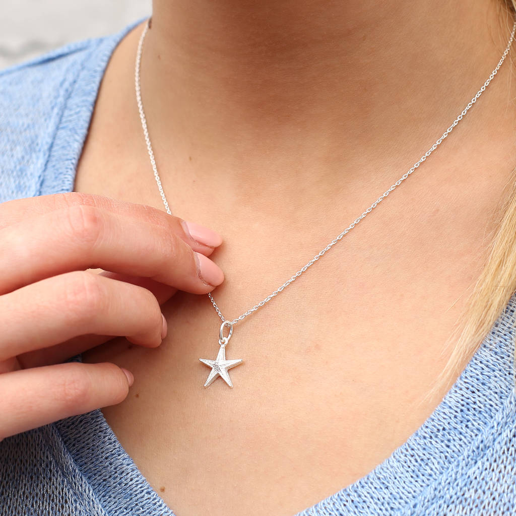 Personalised Sterling Silver Starfish Pendant by Hurleyburley