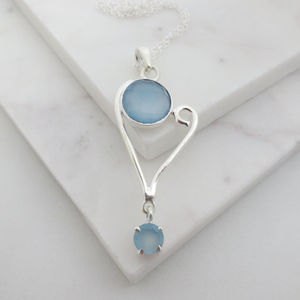 Bridal Blue Chalcedony Necklace