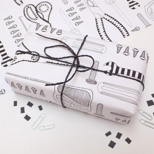 Tool Print Mini Wrapping Paper - ribbon & wrap