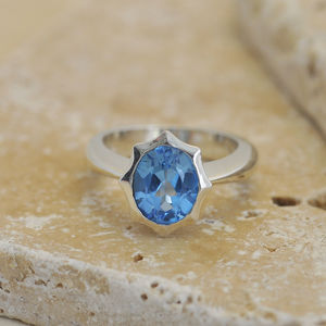 Blue Topaz Star Ring