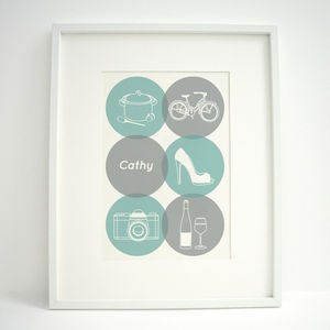 Personalised Ladies Hobbies Print