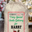 Personalised Sleigh Design Cotton Santa Sack