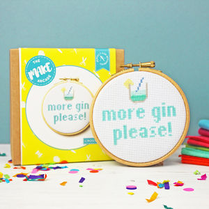 More Gin Please Cross Stitch Craft Kit - gifts for her