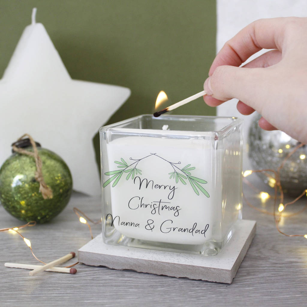 Merry Christmas Mistletoe Candle For Grandparents