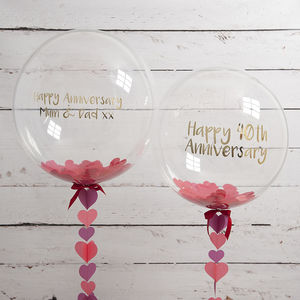 Personalised Ruby Anniversary Confetti Balloon - 40th anniversary: ruby