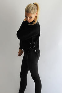 Black Criss Cross Knitted Jumper - women's fashion