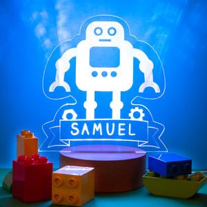 Personalised Boys Name Children's Robot Bedside Lamp - children's lighting