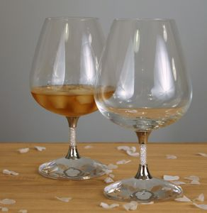 Pair Of Brandy Glasses Filled With Swarovski Crystals - tumblers & highballs