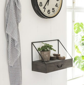 Metal Wall Shelf With Drawer