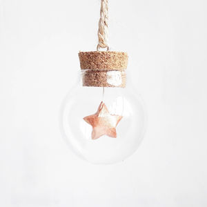 Tiny Bauble With A Mini Rose Gold Paper Origami Star