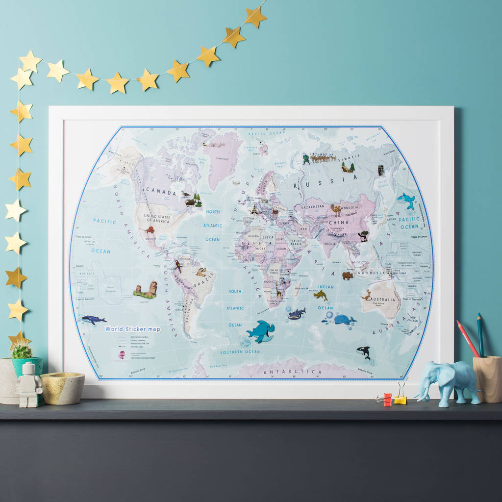 World map wall sticker destination markers by the binary box world illustrated sticker map gumiabroncs Image collections