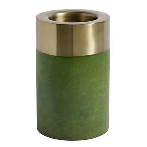 Gold Topped Candle Holder In Green - home accessories