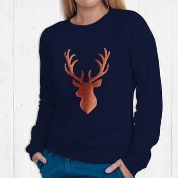 Ladies Christmas Jumper With Copper Stag