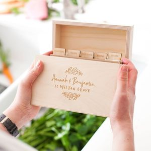 Personalised New Home Wooden Recipe Box - cookbooks & stands