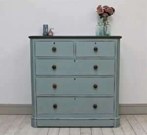 Large Distressed Mahogany Chest Of Drawers