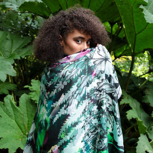 'Fern' Botanical Super Size Square Silk Scarf