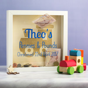 Personalised Christening Money Box Frame
