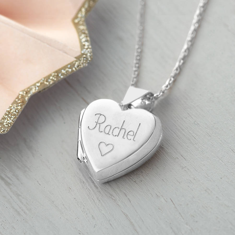 engraved silver q lockets necklace heart four original locket piece charm