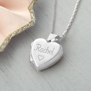 Girl's Personalised Sterling Silver Heart Locket - more