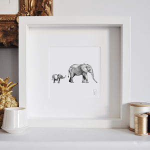 Framed Mummy And Baby Elephant Safari Print - new in prints & art