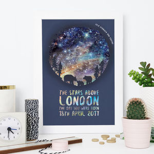 Personalised Bear And Cub Star Chart Print - family & home