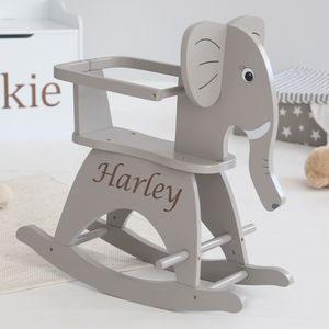 Personalised Grey Elephant Rocker - baby's room