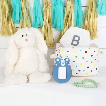 Bunny Gift Set In Spot Basket, Personalised Bib