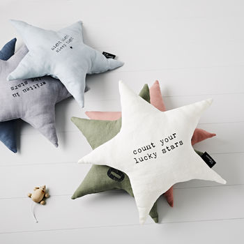 'Count Your Lucky Stars' Linen Cushion