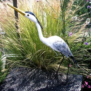 Painted Heron Garden Sculpture - art & decorations