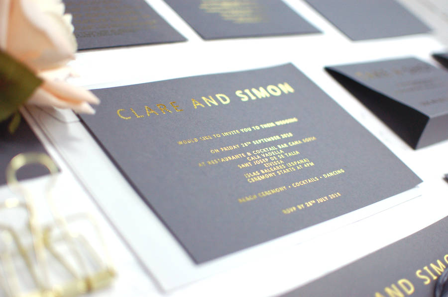 grey and gold foil bespoke wedding invitation by made with love ...