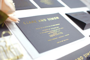 Grey And Gold Foil Bespoke Wedding Invitation - invitations
