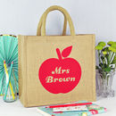 Personalised Apple Teacher Jute Bag