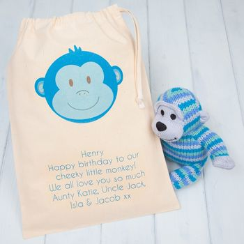 Blue Monkey Knitted Toys, Rattle And Personalised Bag
