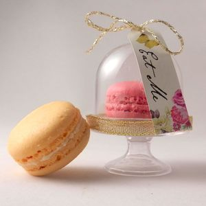 100 X French Macaron Wedding Favours Presented In Dome - edible favours