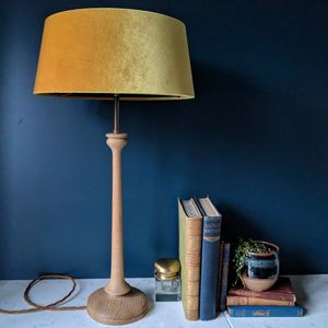 Mustard Velvet Oak Turned Lamp - table lamps