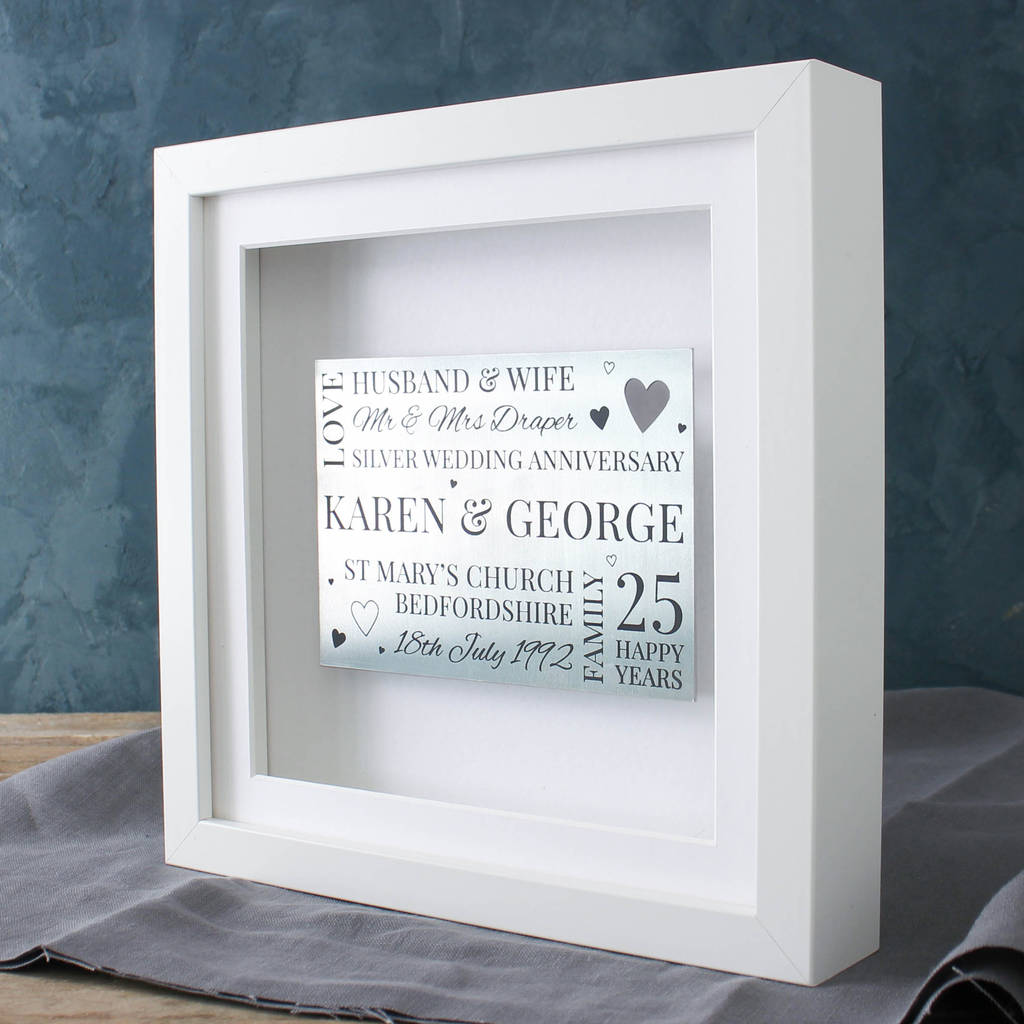 silver anniversary 3d memory frame by no ordinary gift company ...