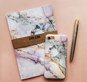 Pink Grey White Marble iPhone Case And Notebook