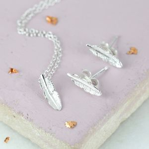 Sterling Silver Delicate Feather Jewellery Set - jewellery sets