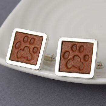 Pets Pawprint Cufflinks In Leather And Silver