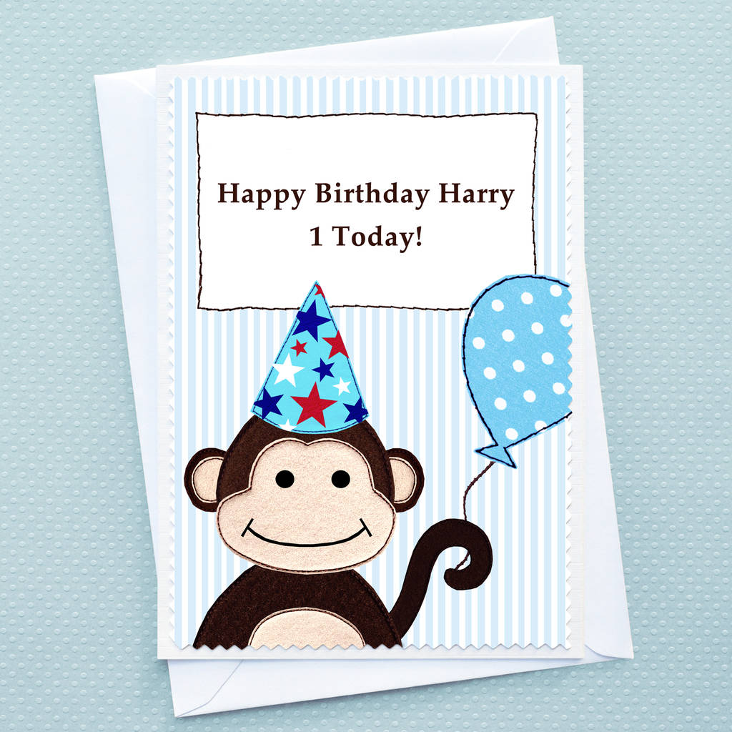 monkey personalised boys birthday card by jenny arnott cards – Boy Birthday Cards