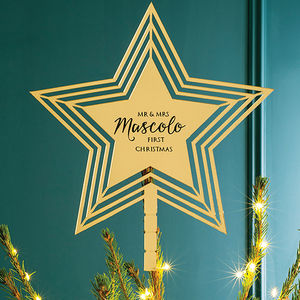 Personalised Star Christmas Tree Topper - tree toppers