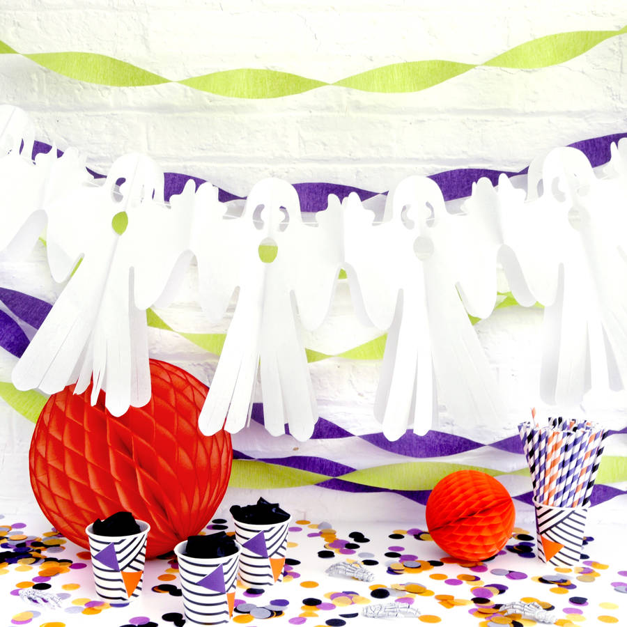 White Halloween Ghost Garland