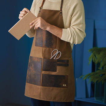 Personalised Waxed Canvas And Leather Work Apron