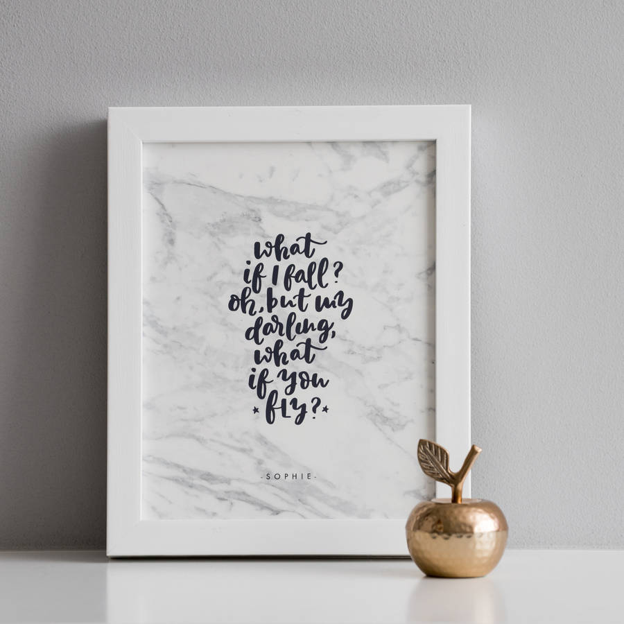 What If I Fall Personalised Modern Calligraphy Print By