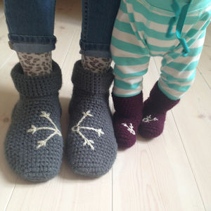 Mummy And Me Snowflake Slipper Sock Set - shoes & footwear