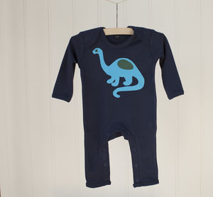 Dinosaur Applique Long Sleeved Sleepsuit
