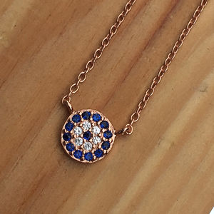 Round Lucky Evil Eye Necklace Cz Silver Rose Gold