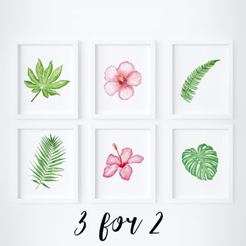 Tropical Watercolour Three Print Set