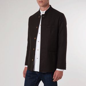 Espresso Brown Birdseye Nehru Jacket - coats & jackets